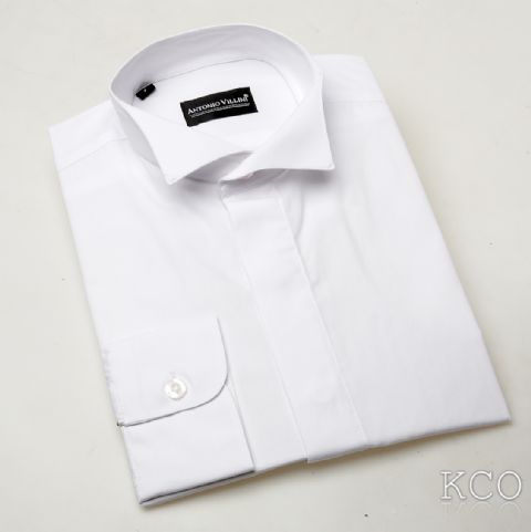 Wing Collar White Shirt
